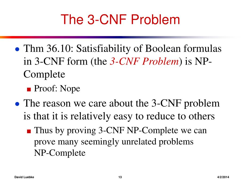 The 3-CNF Problem