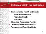linkages within the institution