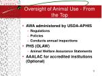 oversight of animal use from the top