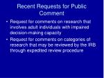 recent requests for public comment