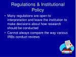 regulations institutional policy