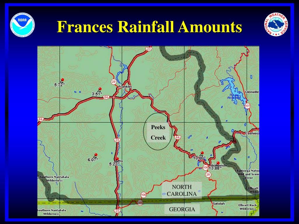 Frances Rainfall Amounts