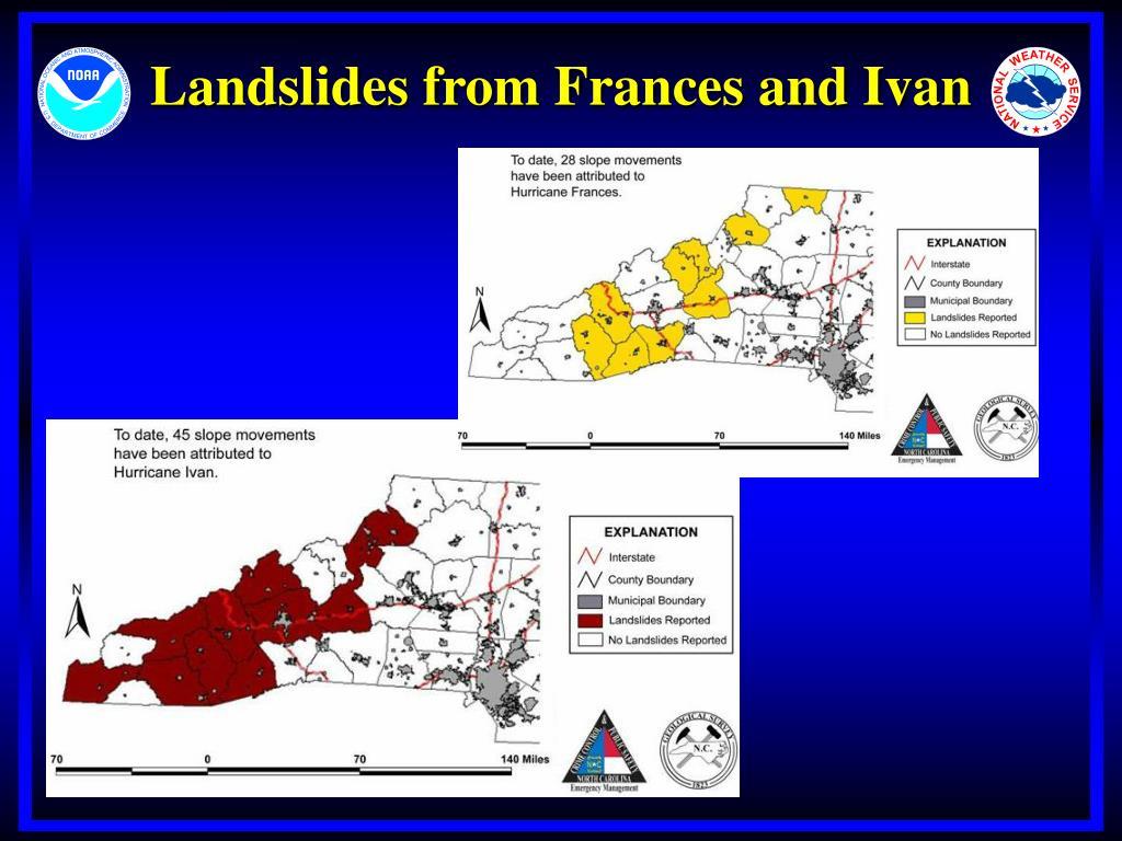 Landslides from Frances and Ivan