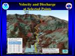 velocity and discharge at selected points