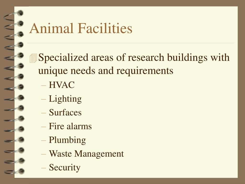 Specialized areas of research buildings with unique needs and requirements