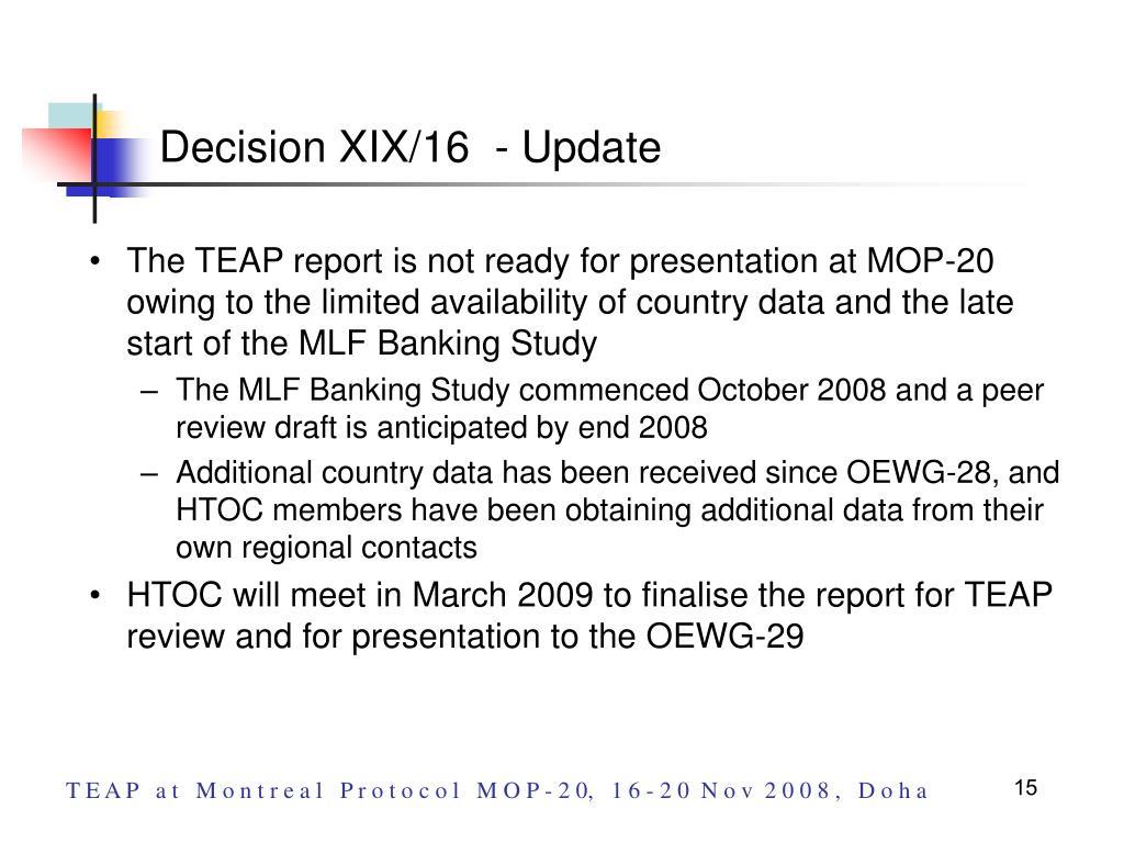 Decision XIX/16  - Update