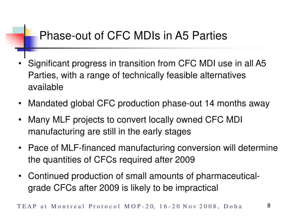 Phase-out of CFC MDIs in A5 Parties