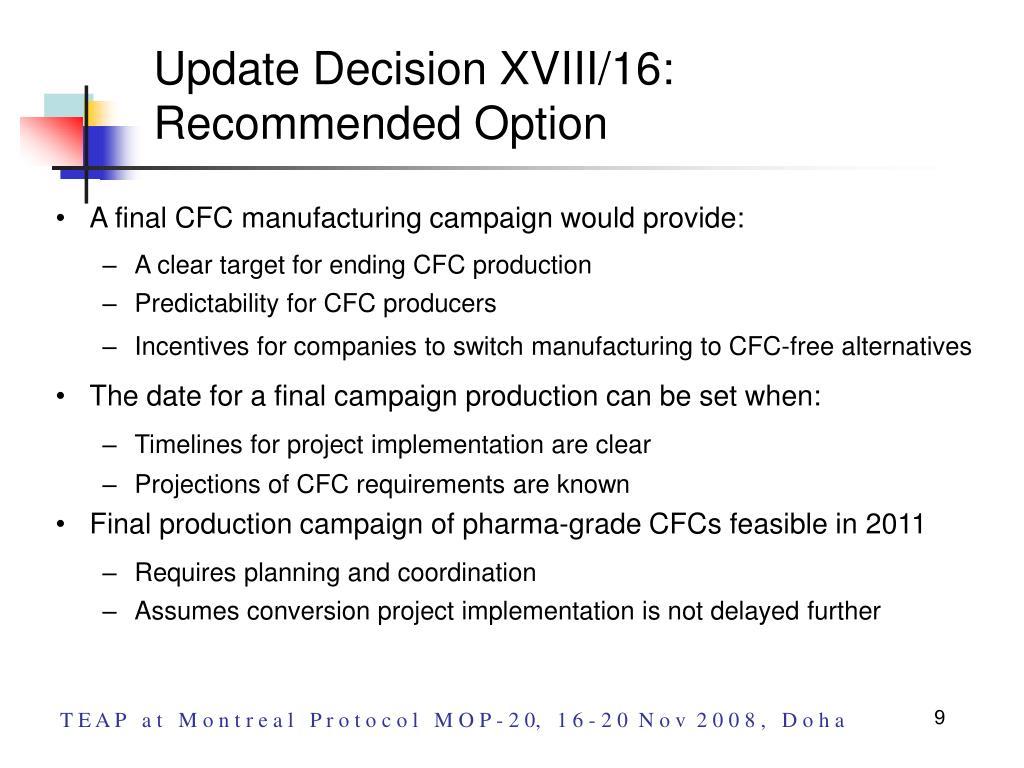Update Decision XVIII/16: