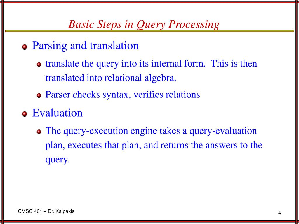 Basic Steps in Query Processing
