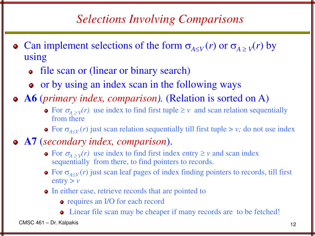 Selections Involving Comparisons
