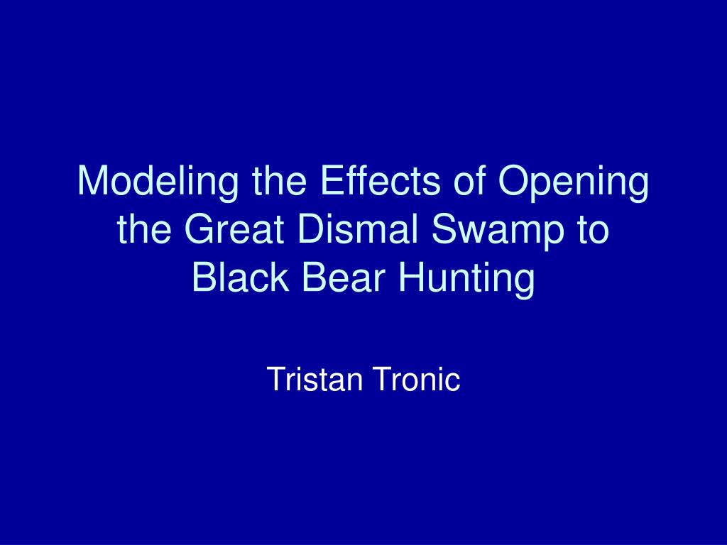 modeling the effects of opening the great dismal swamp to black bear hunting l.