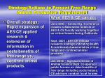 strategy actions to prevent free range animal production requirement