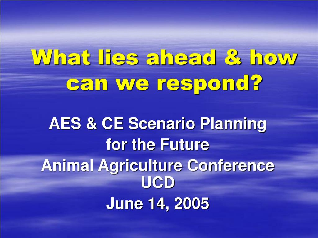 what lies ahead how can we respond l.