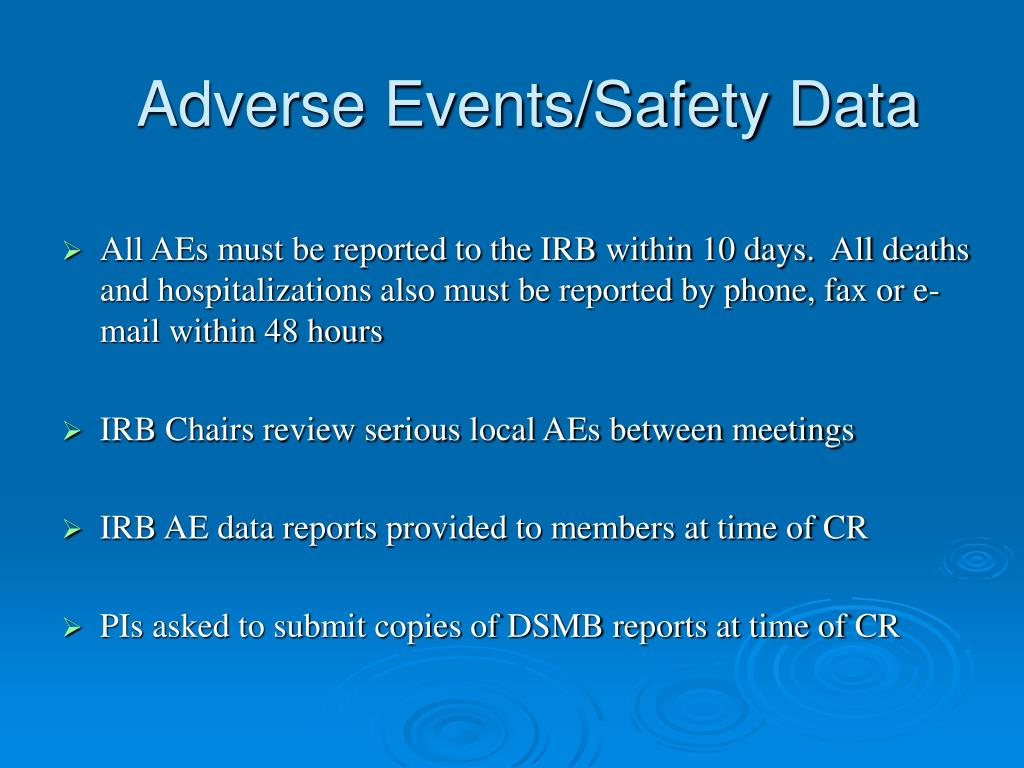 Adverse Events/Safety Data