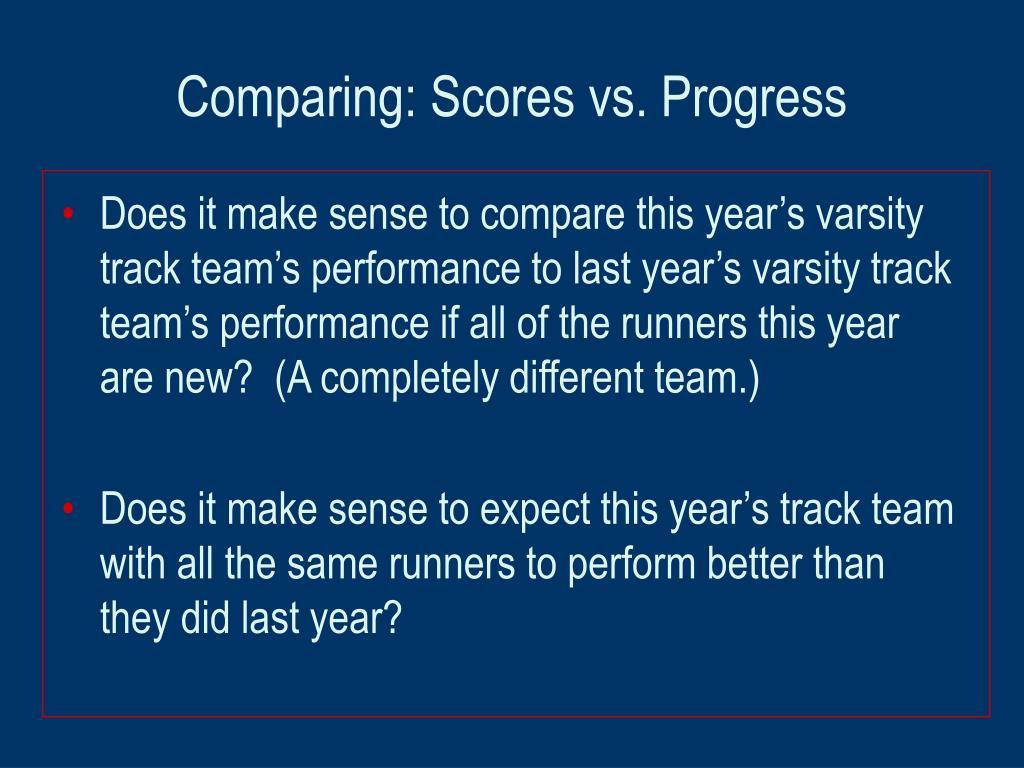 Comparing: Scores vs. Progress
