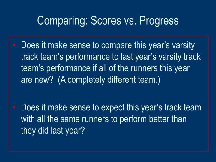 Comparing scores vs progress