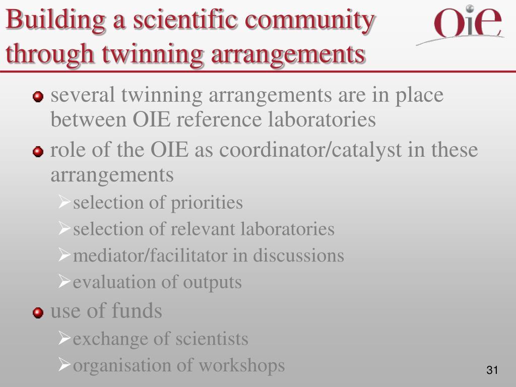 Building a scientific community through twinning arrangements