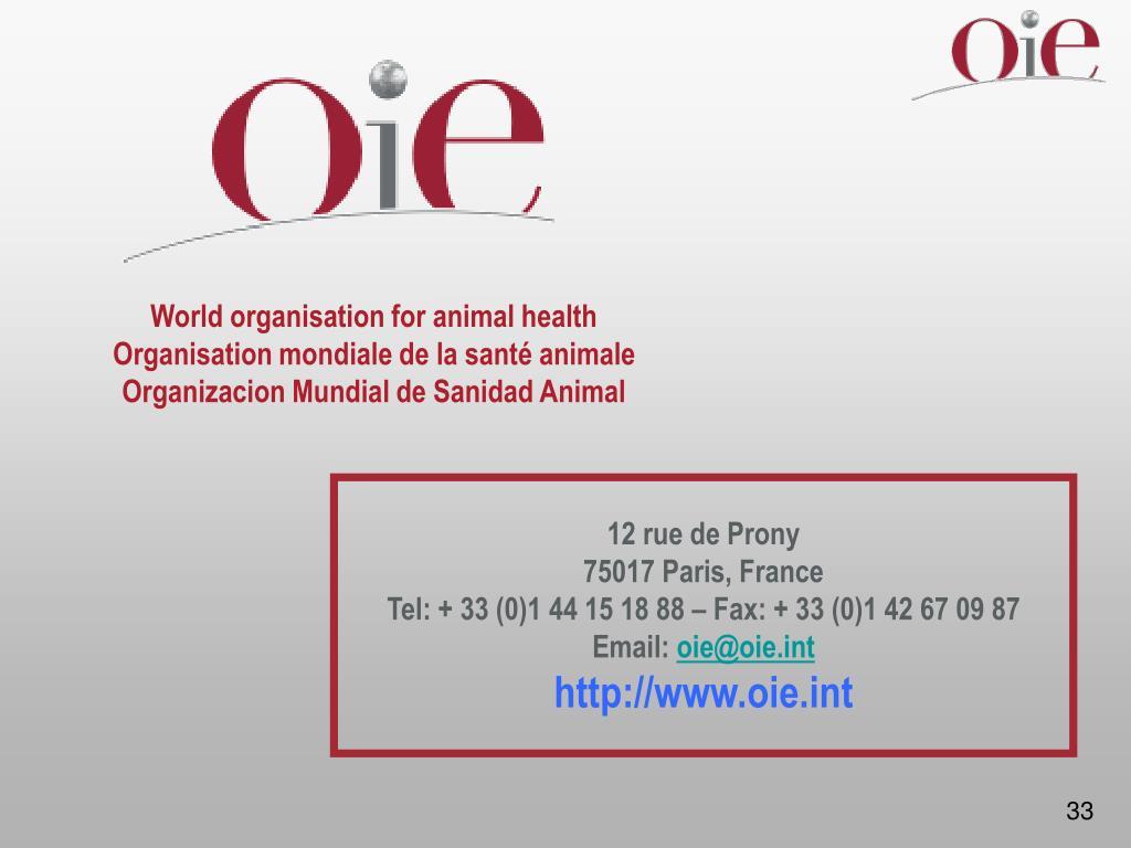 World organisation for animal health