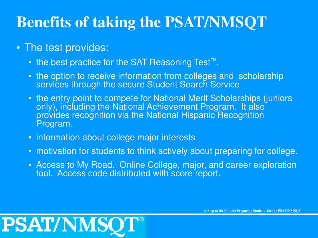 benefits of taking the psat nmsqt l.