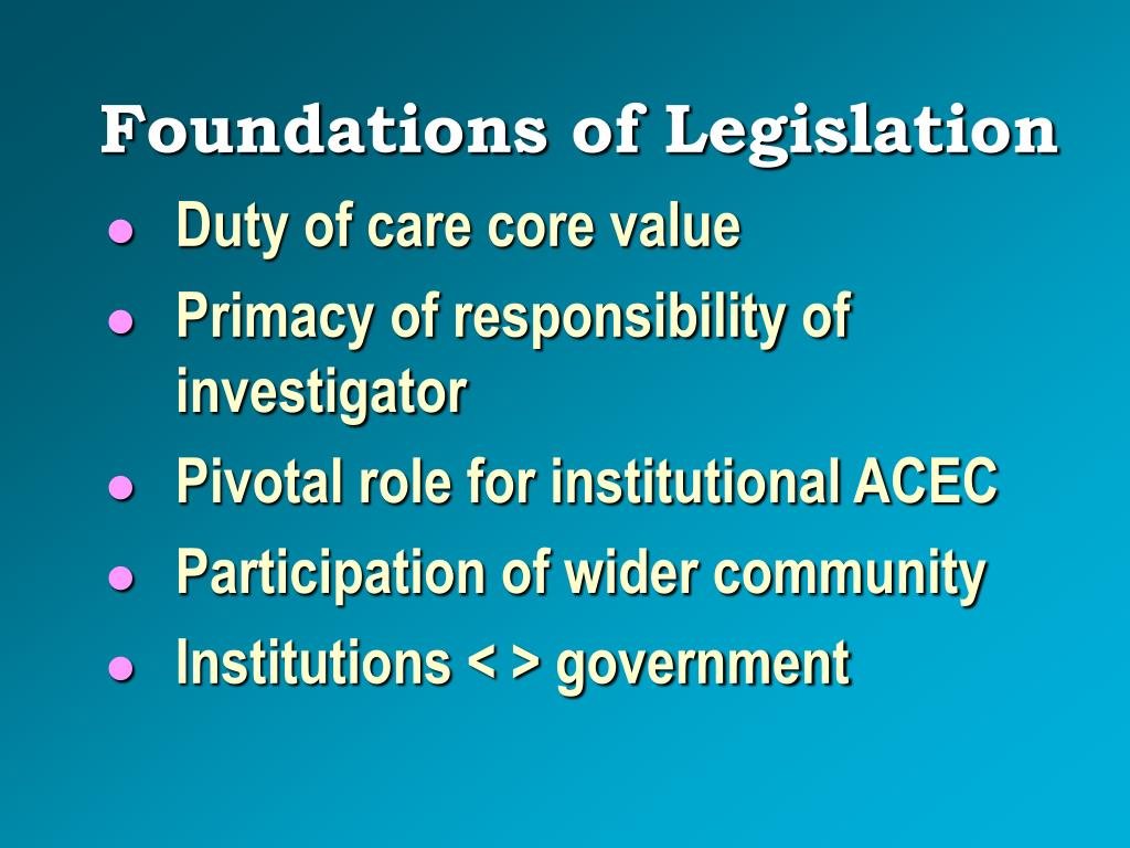 Foundations of Legislation