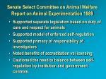 senate select committee on animal welfare report on animal experimentation 1989
