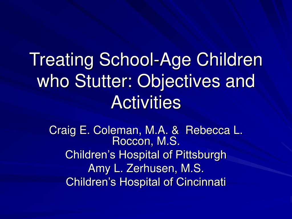 treating school age children who stutter objectives and activities l.