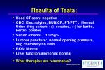 results of tests