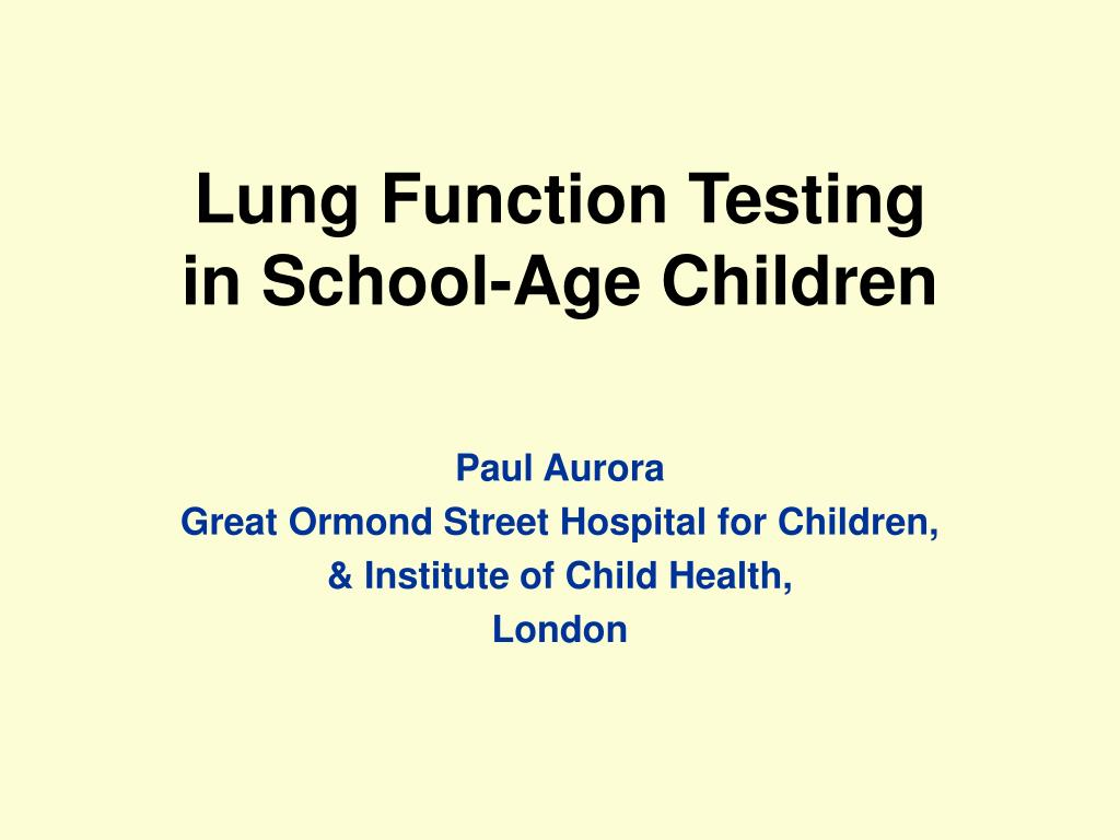 lung f unction t esting in school age children l.