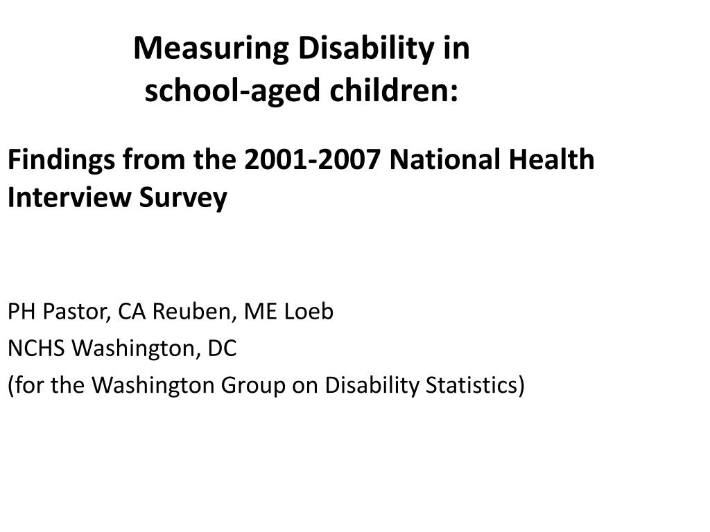 measuring disability in school aged children l.