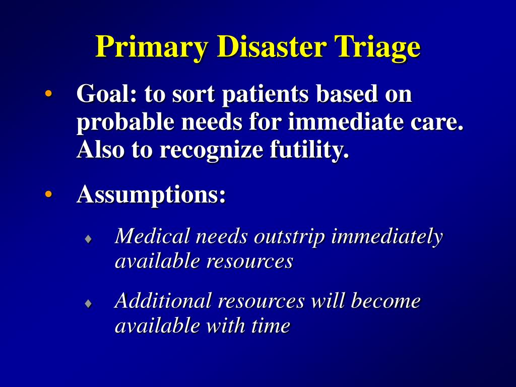 Primary Disaster Triage
