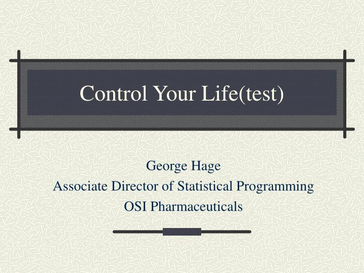 control your life test n.
