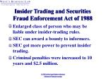 insider trading and securities fraud enforcement act of 1988