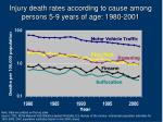 injury death rates according to cause among persons 5 9 years of age 1980 2001