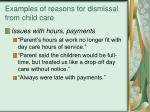 examples of reasons for dismissal from child care16