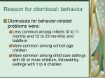 reason for dismissal behavior