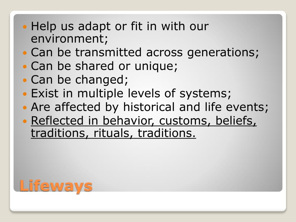 Help us adapt or fit in with our environment;