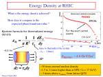 energy density at rhic