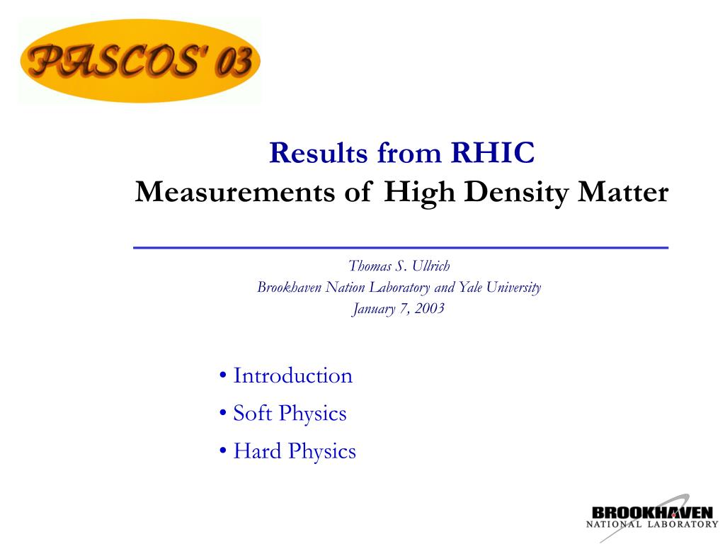 results from rhic measurements of high density matter l.
