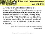 effects of homelessness on children