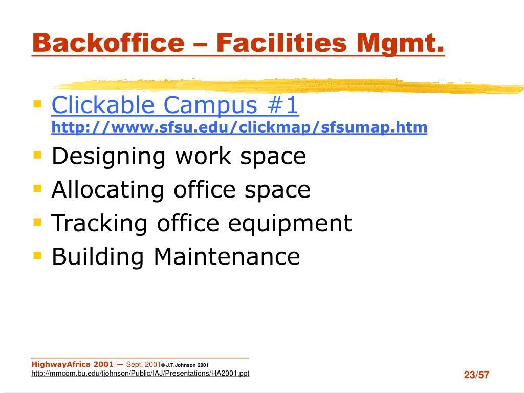 Backoffice – Facilities Mgmt.