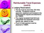 reimbursable travel expenses cont d