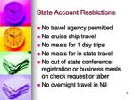 state account restrictions