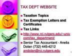tax dept website