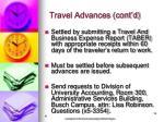 travel advances cont d