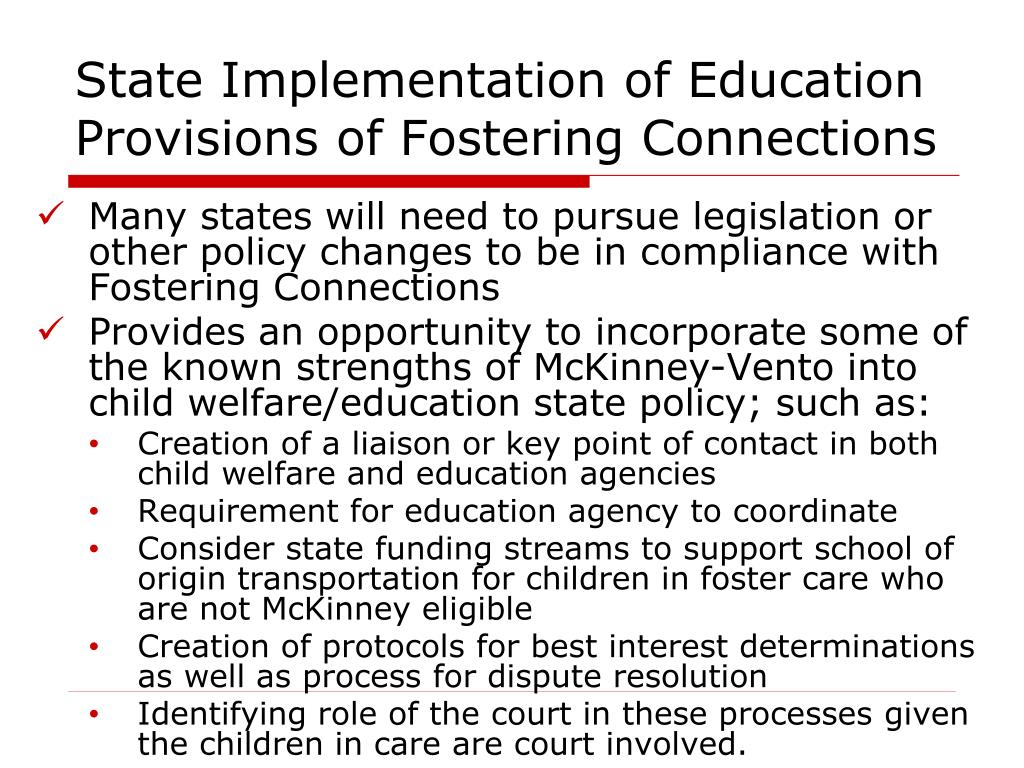 State Implementation of Education Provisions of Fostering Connections