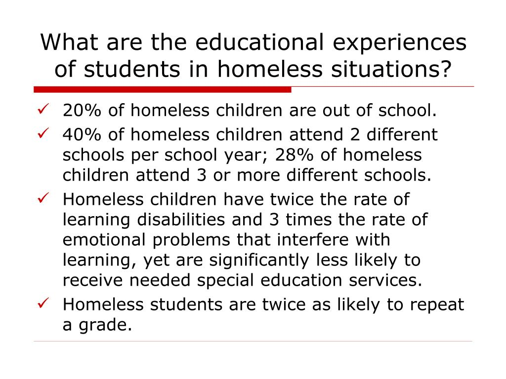 What are the educational experiences of students in homeless situations?