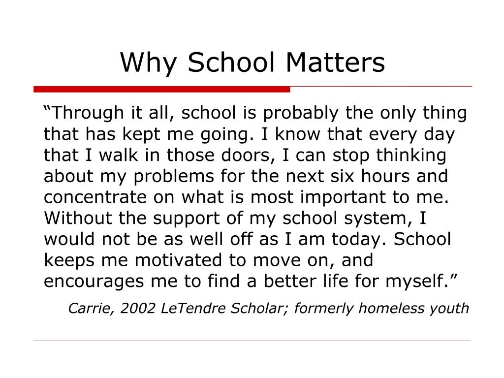 Why School Matters