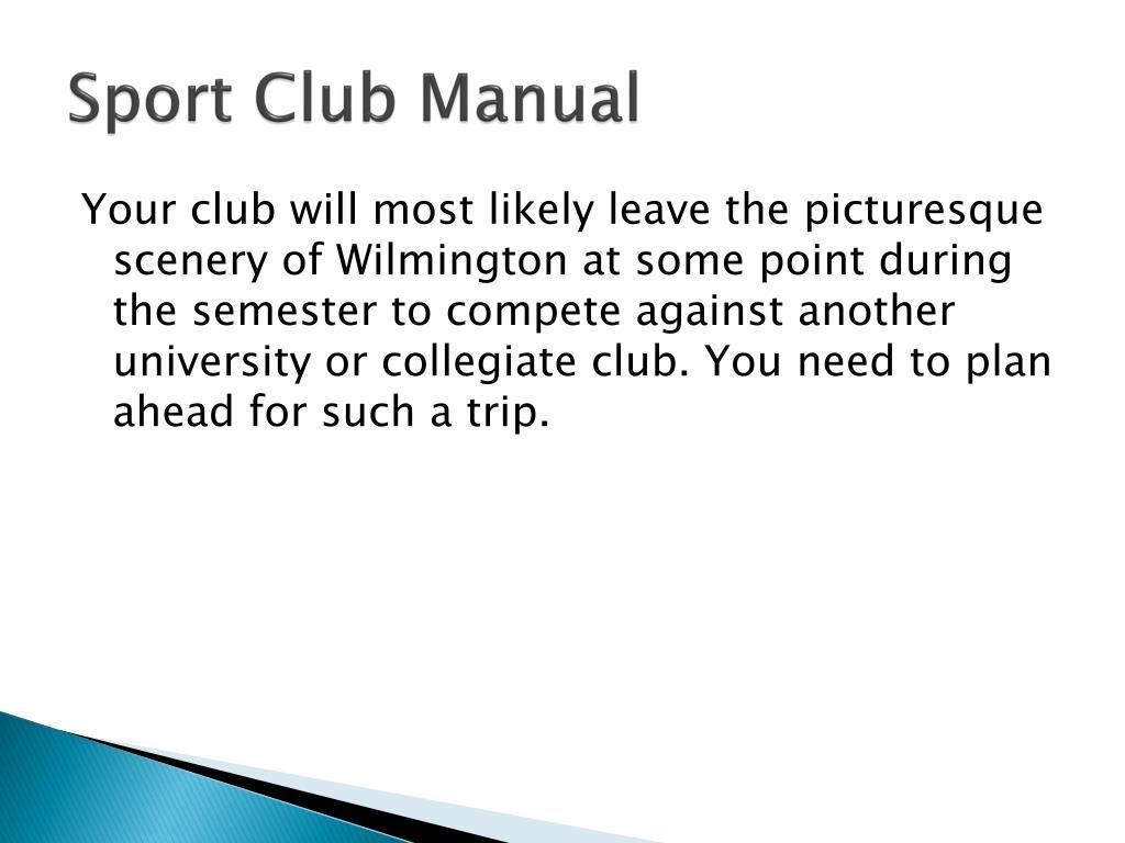 Sport Club Manual
