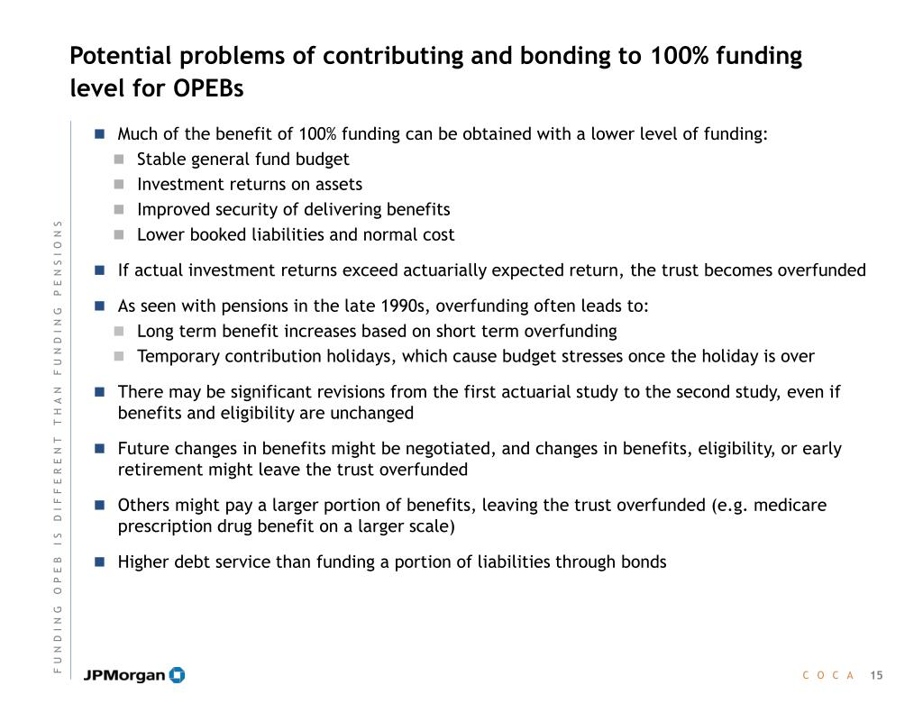 Potential problems of contributing and bonding to 100% funding level for OPEBs