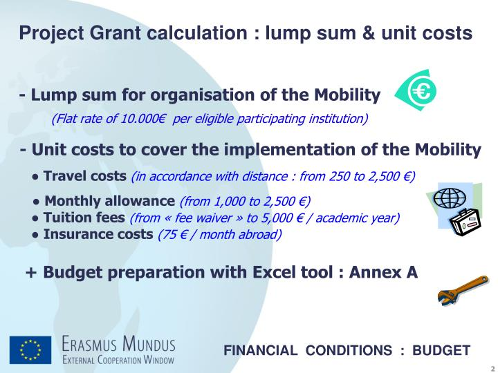 Project Grant calculation : lump sum & unit costs